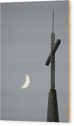 Moon Cross Wood Print by Beverly Hammond