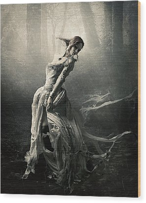 Moon Dance Wood Print by Cindy Grundsten