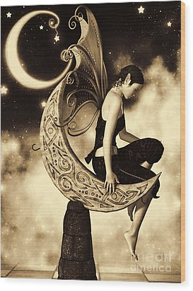 Moon Fairy Sepia Wood Print by Alexander Butler