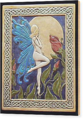 Moon Fairy Wood Print by Shannon Gresham