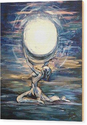 Moon Goddess Wood Print by Karen  Ferrand Carroll