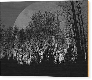 Wood Print featuring the pyrography Moon by Jason Lees