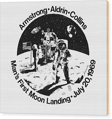 Moon Landing Wood Print by J W Kelly