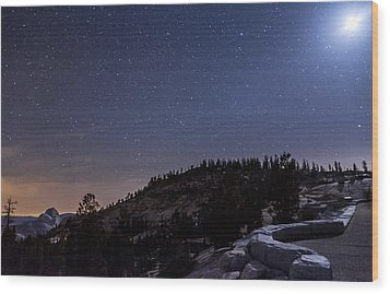 Moon Light At Olmstead Point Wood Print by Cat Connor