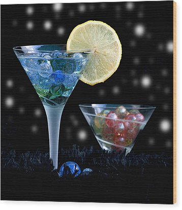 Moon Light Cocktail Lemon Flavour With Stars 1 Wood Print