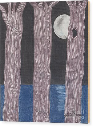 Wood Print featuring the mixed media Moon Light by David Jackson