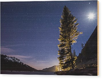 Moon Light Over Tenaya Lake Wood Print by Cat Connor