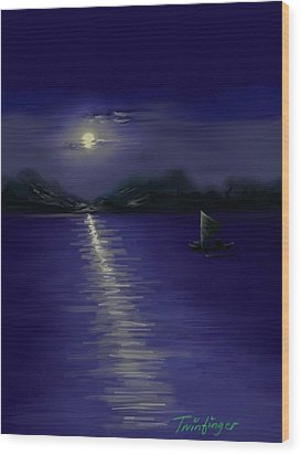 Moon Light Wood Print by Twinfinger