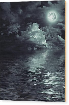 Moon Mysterious Wood Print by Boon Mee