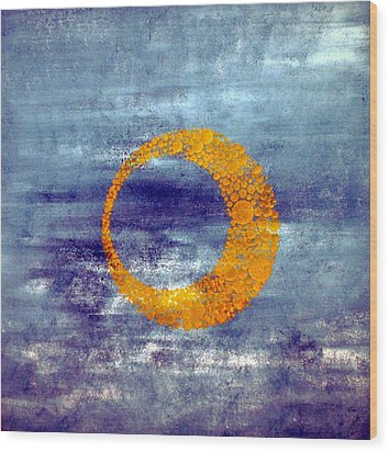 Wood Print featuring the painting Moon by Nico Bielow