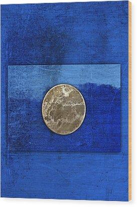 Moon On Blue Wood Print by Carol Leigh