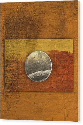 Moon On Gold Wood Print by Carol Leigh