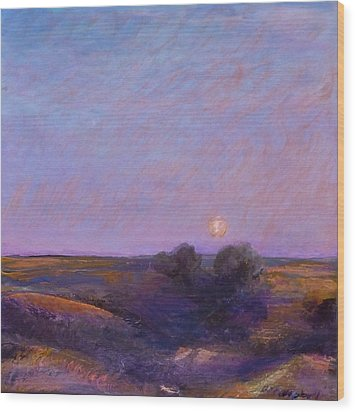 Moon On The Horizon Wood Print by Helen Campbell