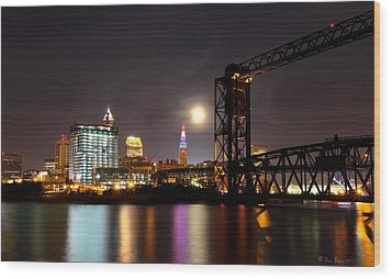 Moon Over Cleveland Wood Print by Daniel Behm