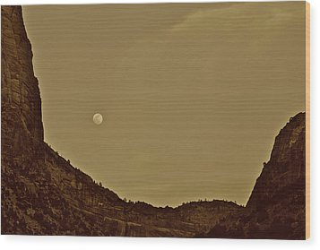 Moon Over Crag Utah Wood Print