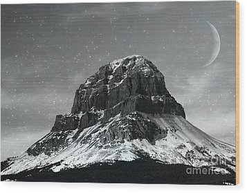 Moon Over Crowsnest Wood Print