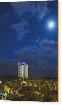 Moon Over Ft. Lauderdale Wood Print