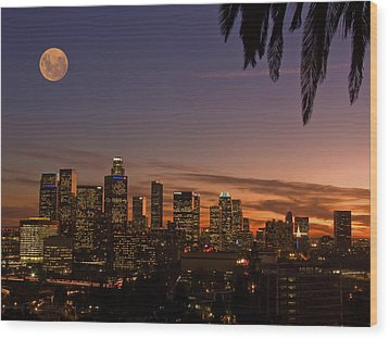 Moon Over L.a. Wood Print