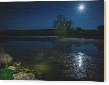 Moon Over Lake Wood Print by Alexey Stiop