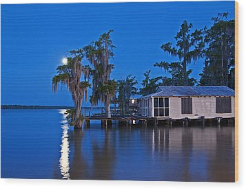 Moon Over Lake Verret Wood Print by Andy Crawford