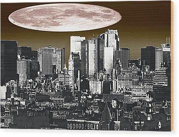 Moon Over Manhattan Wood Print by Kellice Swaggerty