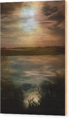 Moon Over Marsh - 35mm Film Wood Print by Gary Heller