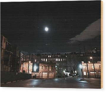 Wood Print featuring the photograph Moon Over Midtown by Toni Martsoukos