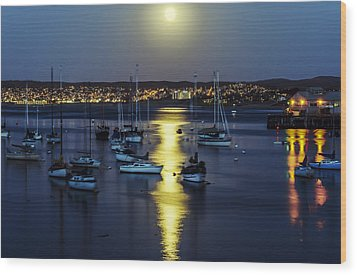 Moon Over Monterey Bay Wood Print