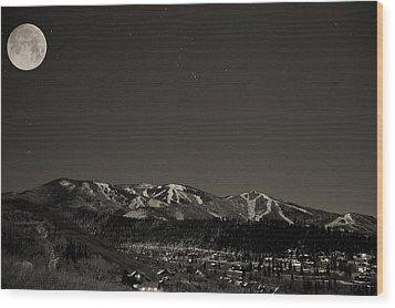 Moon Over Mt. Werner Wood Print by Matt Helm