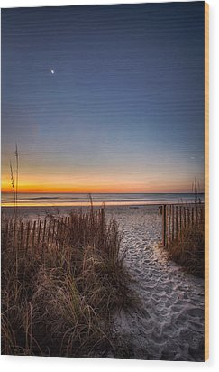 Moon Over Myrtle Beach Wood Print by Joshua Minso