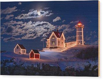 Moon Over Nubble Wood Print