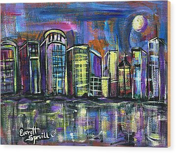 Moon Over Orlando Wood Print