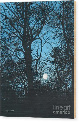 Moon Over Pittsburgh Wood Print by Barbara Jewell