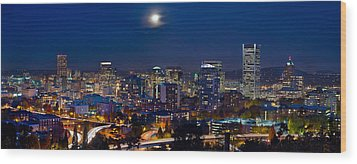 Moon Over Portland Oregon City Skyline At Blue Hour Wood Print by JPLDesigns