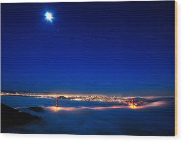 Moon Over San Francisco In Fog Wood Print