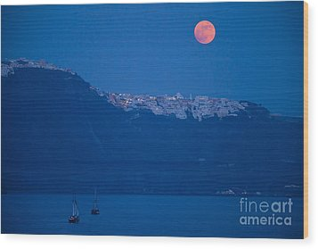 Moon Over Santorini Wood Print by Brian Jannsen