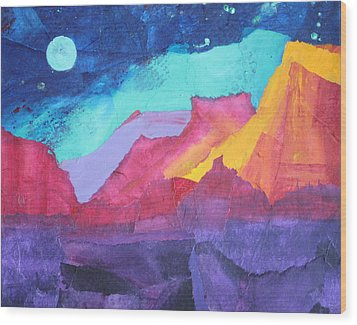 Wood Print featuring the painting Moon Over Sedona by Nancy Jolley