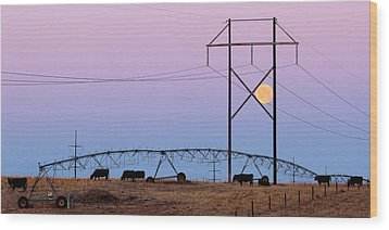 Wood Print featuring the photograph Moon Over Sprinkler by Bill Kesler