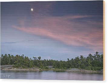 Moon Over The Bay Wood Print by Phill Doherty