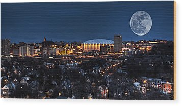 Moon Over The Carrier Dome Wood Print