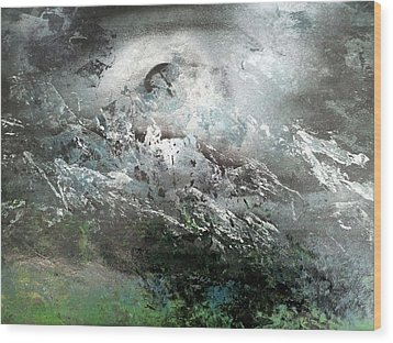 Moon Over The Mountains Wood Print