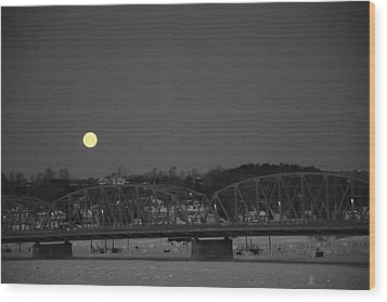 Moon Over The Steel Bridge Wood Print
