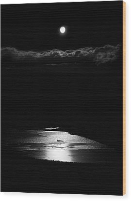 Moon Over Trout Creek Pond Wood Print by Patrick Derickson