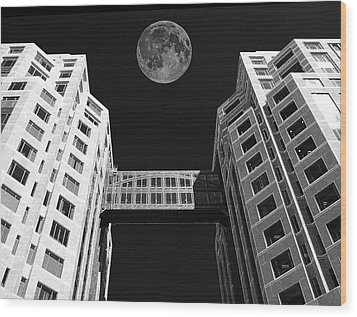 Moon Over Twin Towers Wood Print