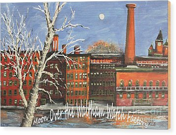 Moon Over Waltham Watch Wood Print