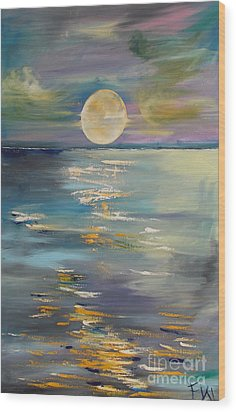 Moon Over Your Town/reflexion Wood Print by PainterArtist FIN