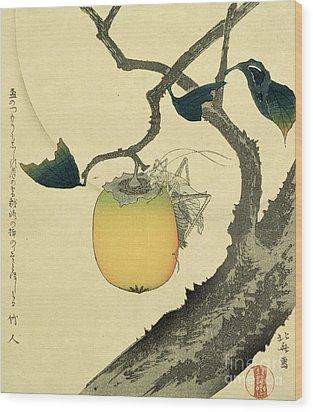 Moon Persimmon And Grasshopper Wood Print by Katsushika Hokusai