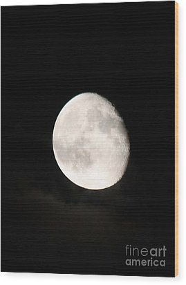 Moon Photographed In Black And White Wood Print by John Telfer