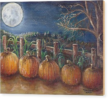 Moon Pumpkin Harvest Wood Print by Bernadette Krupa