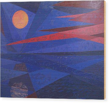 Wood Print featuring the painting Moon Reflecting On A Lake by Walter Casaravilla